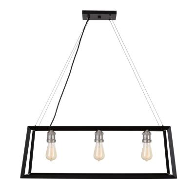 Walden Forge 3-Light Black Frame Linear Island Pendant with Antique Nickel
