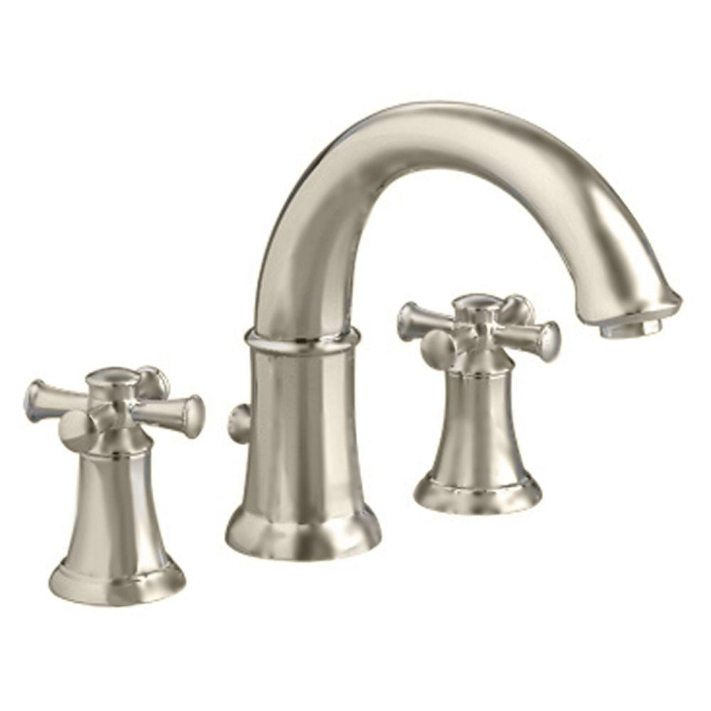 Portsmouth Cross 2-Handle Deck-Mount Roman Tub Faucet in Brushed Nickel
