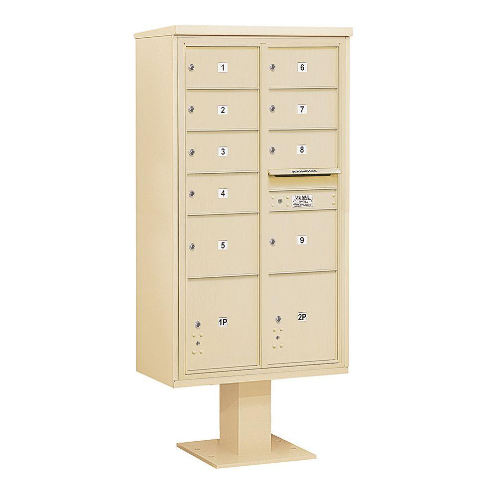 3400 Series Sandstone Mount 4C Pedestal Mailbox with 7 MB2/2 MB3
