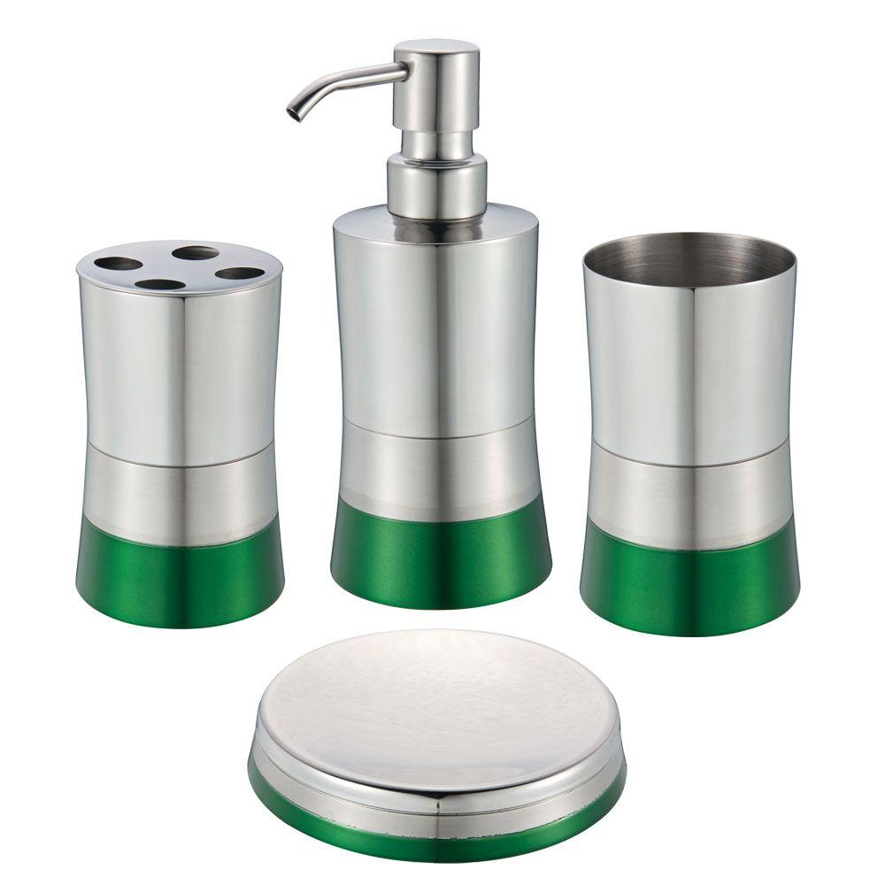 4-Piece Bath Accessory Set in Shiny Matte and Spray Paint Green