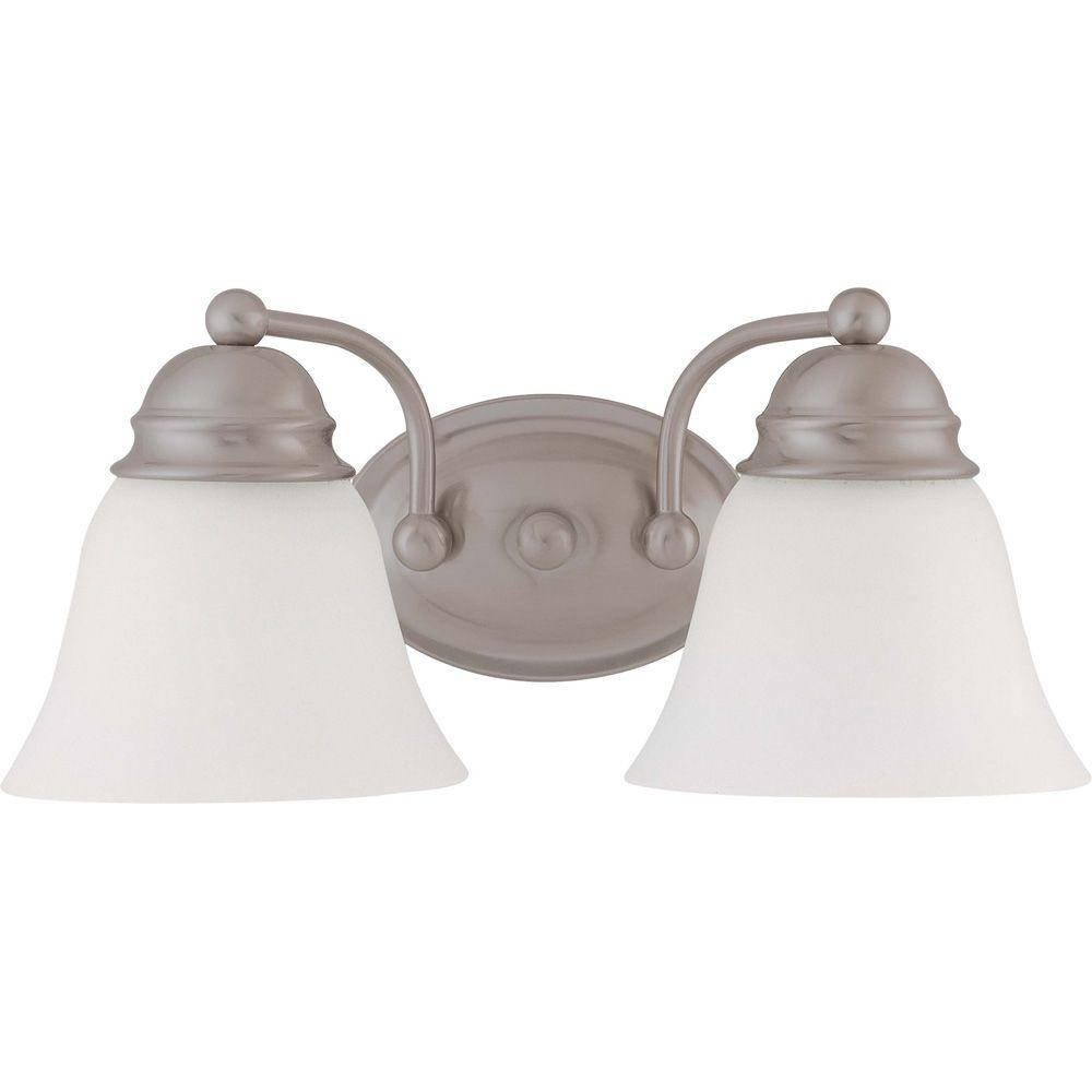 2-Light Brushed Nickel Vanity Light with Frosted White Glass