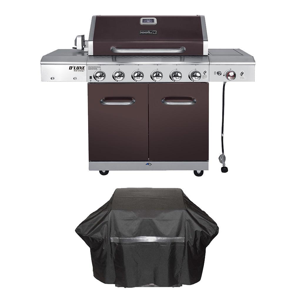 Nexgrill Deluxe 6-Burner Propane Gas Grill in Mocha with Ceramic Searing Side Burner Plus Grill Cover