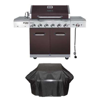 Deluxe 6-Burner Propane Gas Grill in Mocha with Ceramic Searing Side Burner Plus Grill Cover