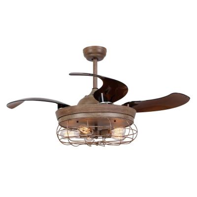 Benally 46 in. Indoor Bronze Downrod Mount Retractable Ceiling Fan with Light Kit Remote Control