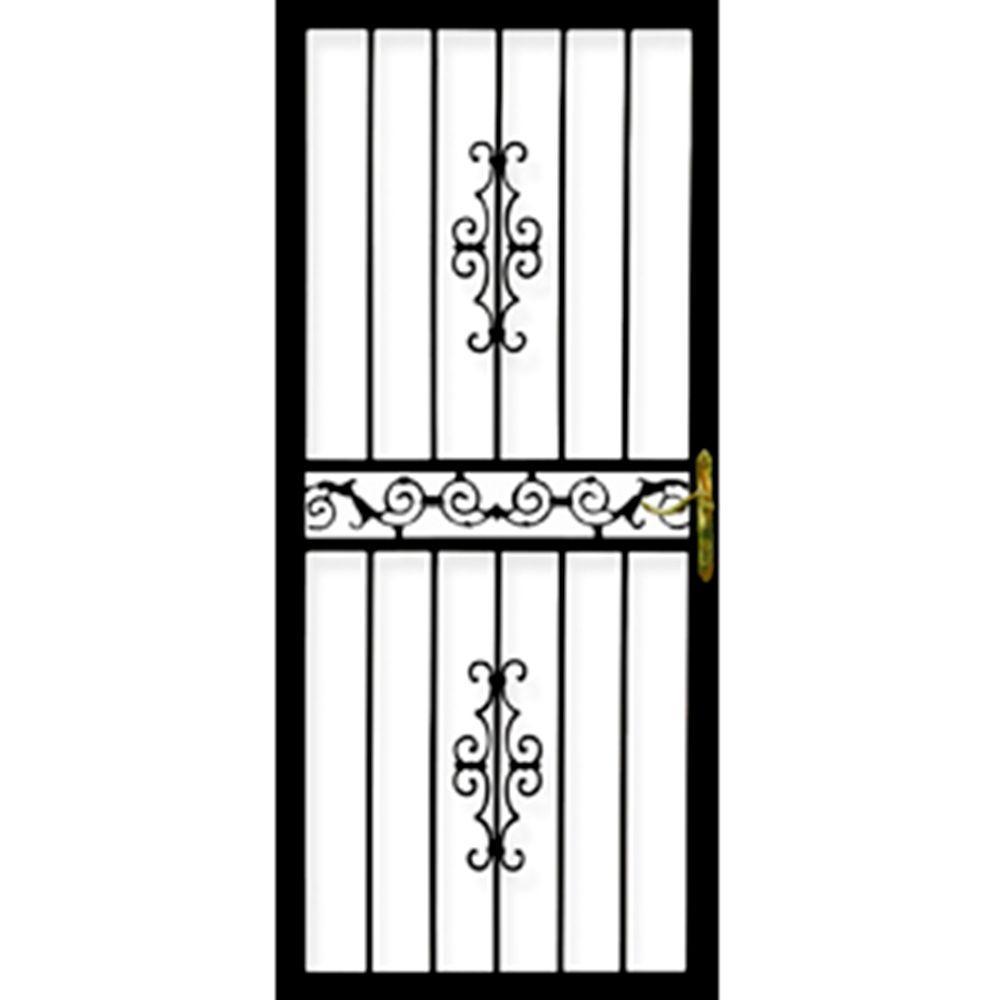 Grisham 32 in. x 80 in. 101 Series Black Hinge Left Gibraltar Security Door with Self-Storing Glass Feature