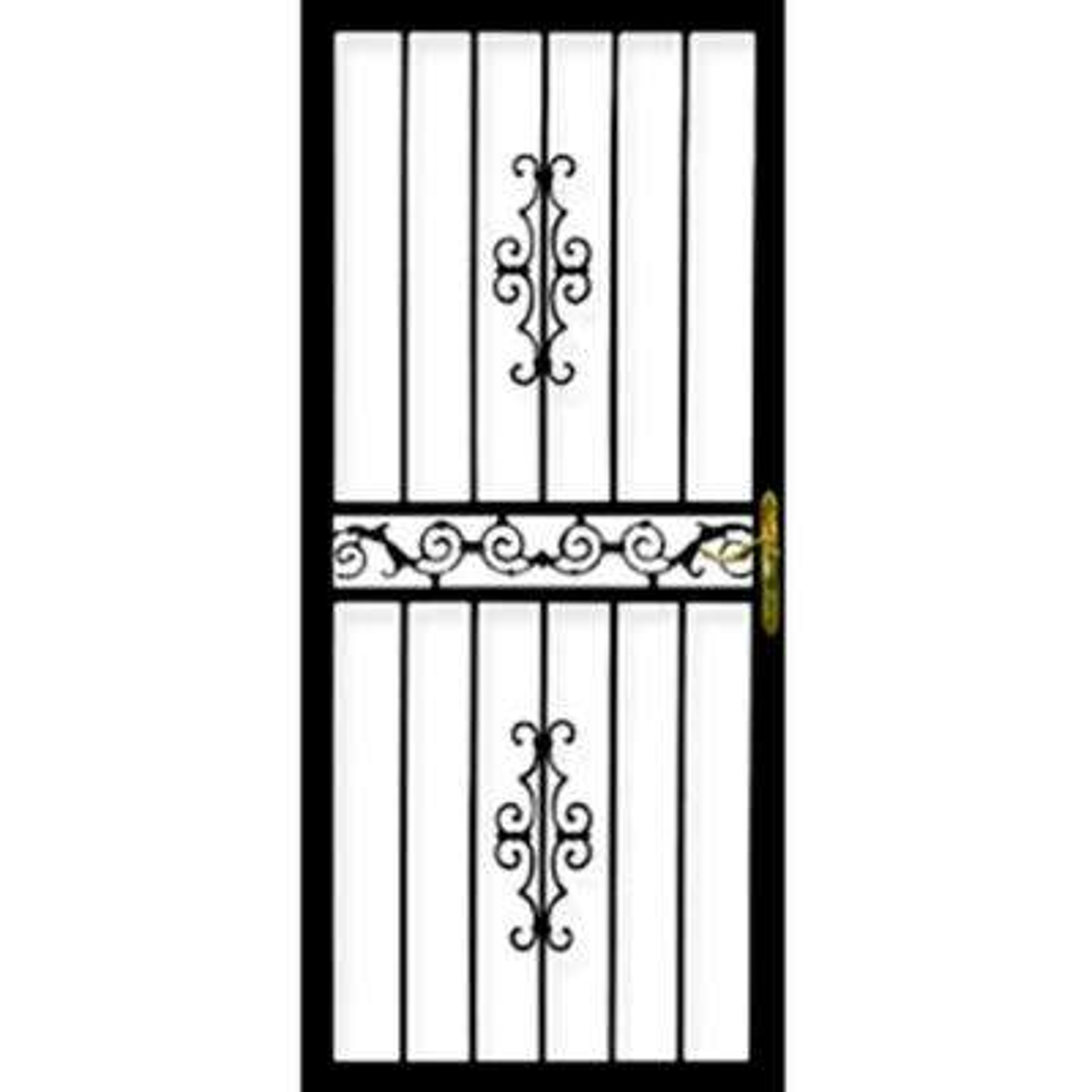 36 in. x 80 in. 101 Series Black Hinge Left Gibraltar Security Door with Self-Storing Glass Feature