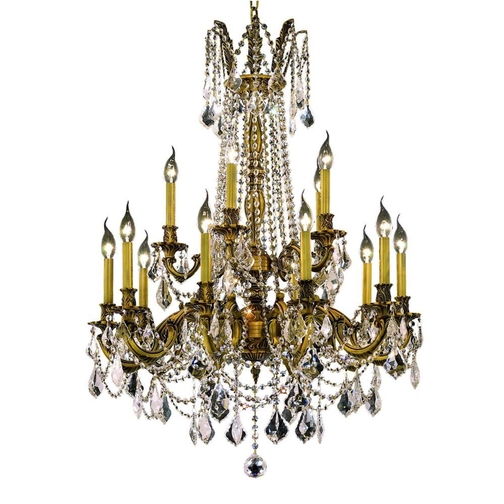 Elegant Lighting 15-Light French Gold Chandelier with Clear Crystal