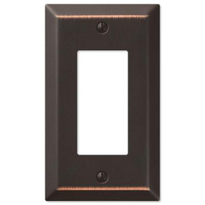 Metallic 1 Gang Rocker Steel Wall Plate - Aged Bronze