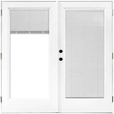 72 in. x 80 in. Fiberglass Smooth White Right-Hand Outswing Hinged Patio Door with Built in Blinds