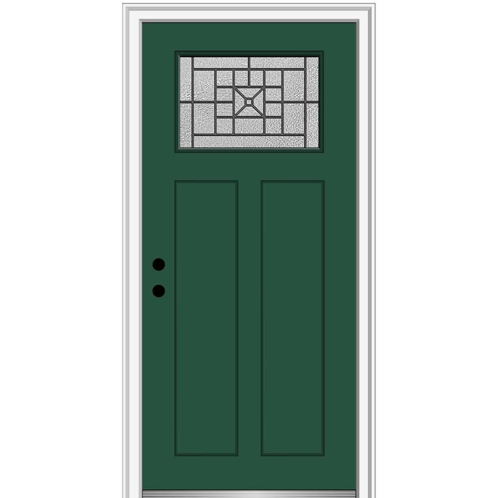 MMI Door 36 in. x 80 in. Courtyard Right-Hand 1-Lite Decorative Craftsman Painted Fiberglass Prehung Front Door, 4-9/16 in. Frame, Hunter Green/ was $1444.56 now $939.0 (35.0% off)