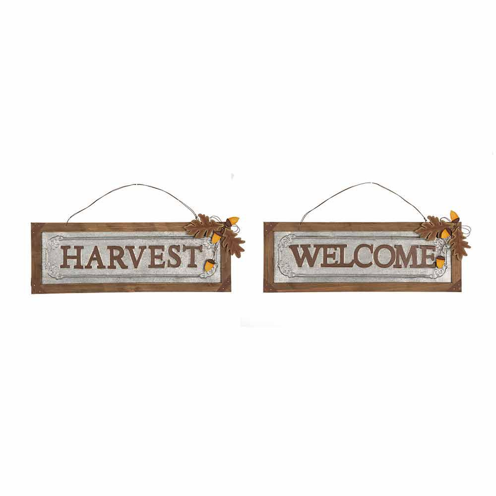 """Glitzhome 21.89 in. L Solid Wood/Galvanized """"Harvest/Welcome"""" Wall Sign"""