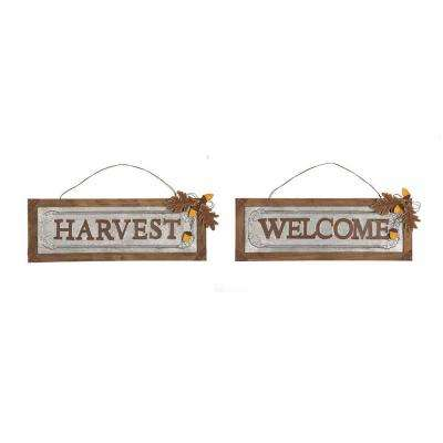 "21.89 in. L Solid Wood/Galvanized ""Harvest/Welcome"" Wall Sign"