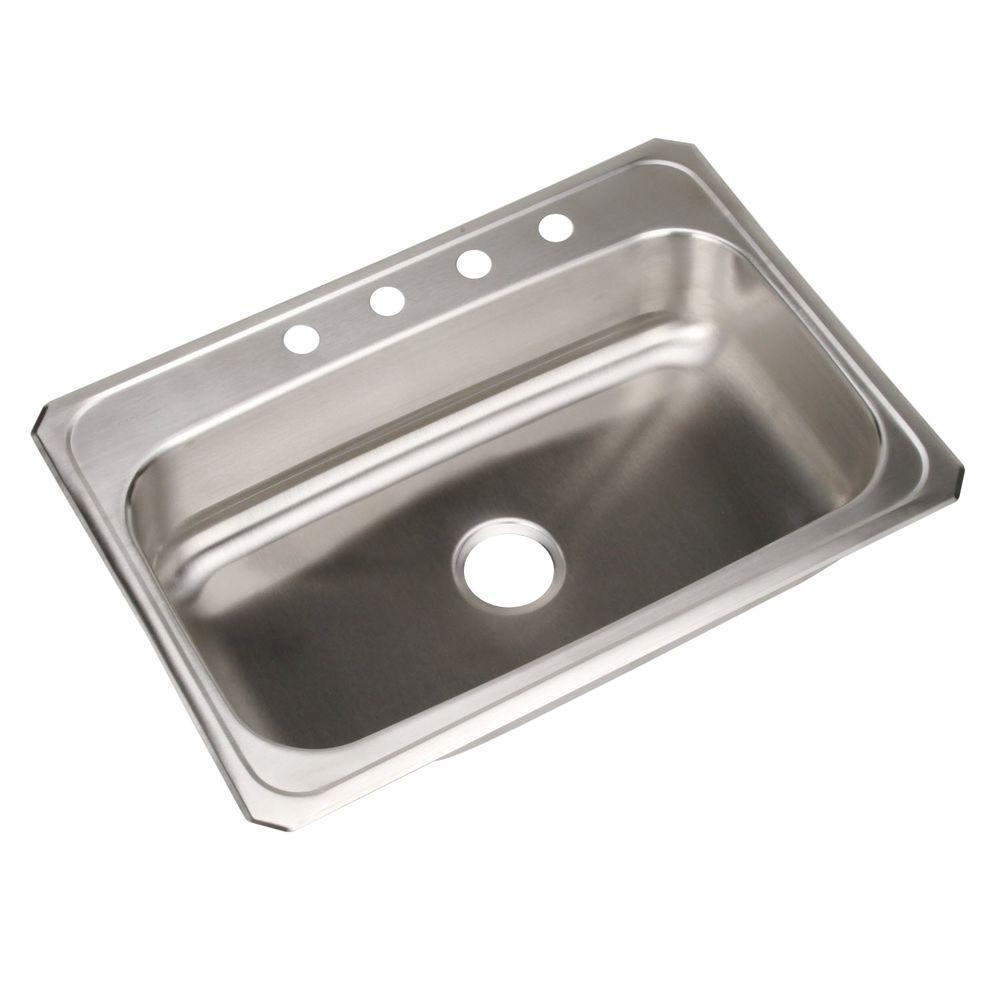 Elkay Celebrity Drop-In Stainless Steel 31 in. 4-Hole Single Bowl ...