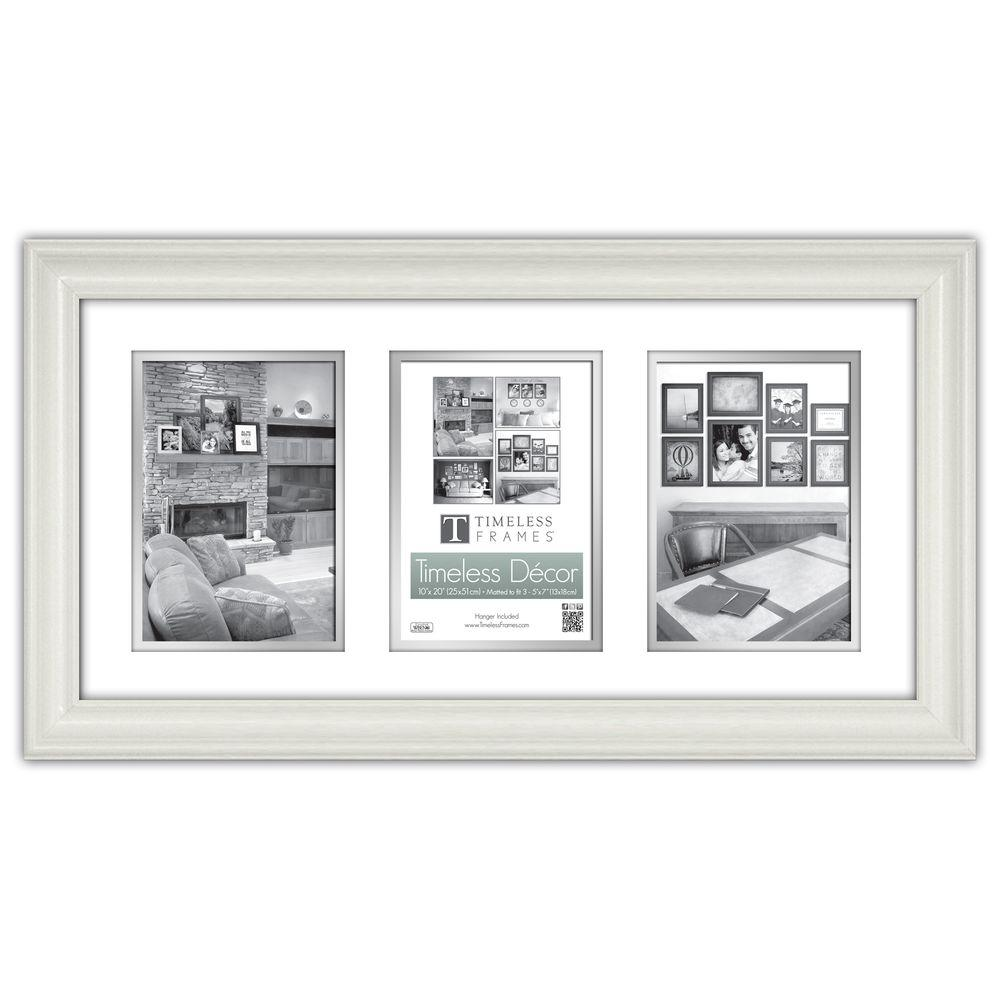 Wall frames wall decor the home depot lauren 3 opening 20 in x 10 in pure white matted picture frame jeuxipadfo Images