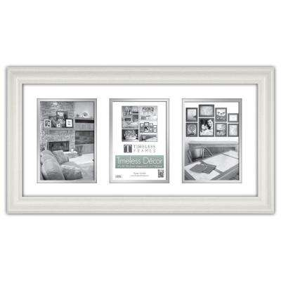 Lauren 3-Opening 20 in. x 10 in. Pure White Matted Picture Frame