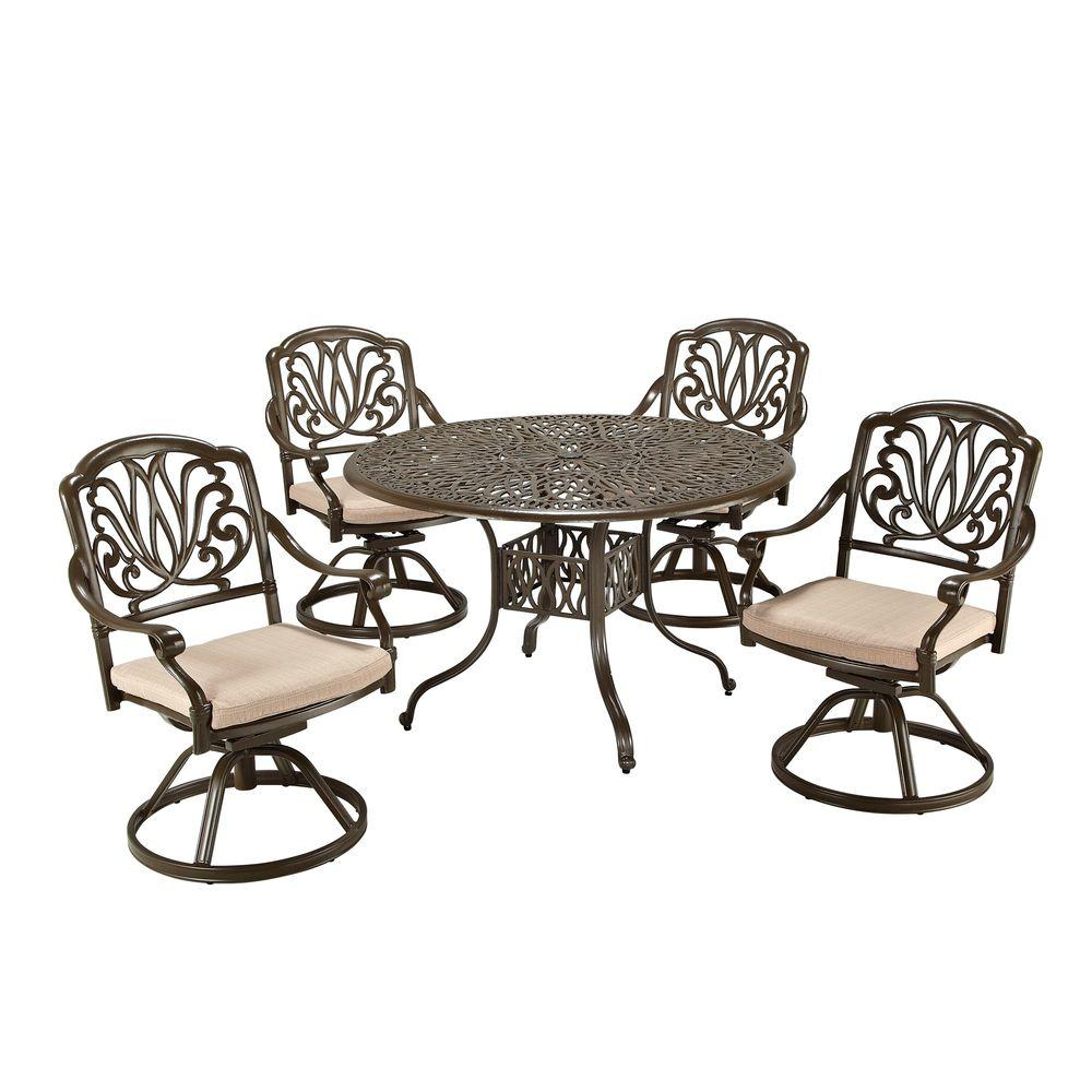 Home Styles Floral Blossom Taupe 5-Piece Patio Dining Set...