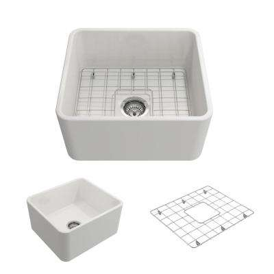 Classico Farmhouse Apron Front Fireclay 20 in. Single Bowl Kitchen Sink with Bottom Grid and Strainer in White