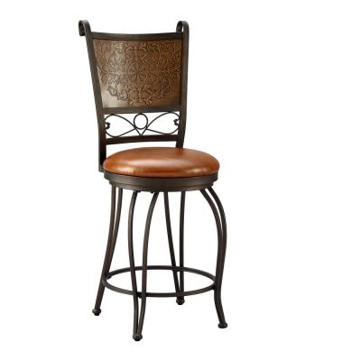 24 in. Bronze and Copper Cushioned Bar Stool