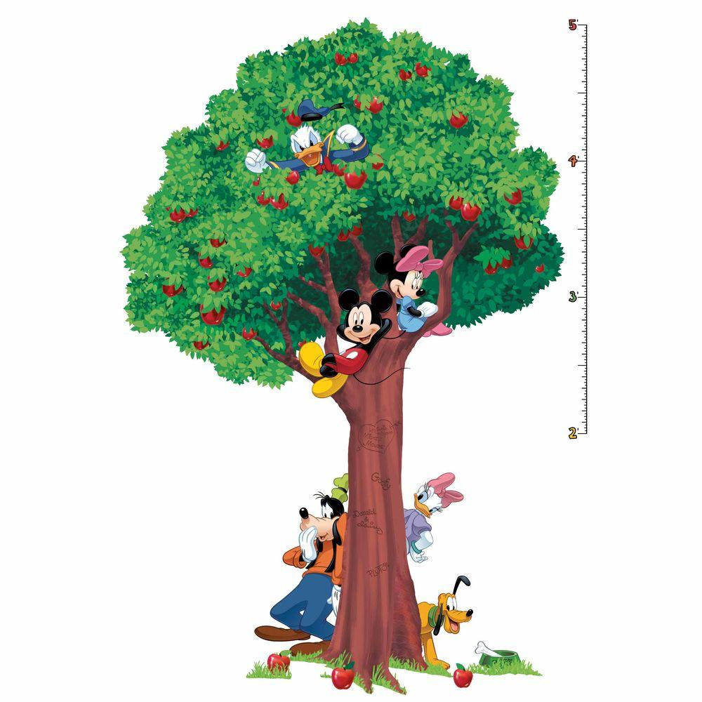 RoomMates 3.5 in. x 27 in. Mickey and Friends 25-Piece Peel and Stick Growth Chart