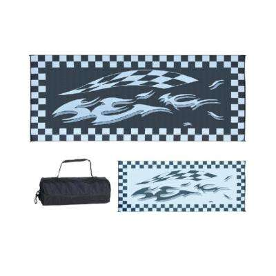 8 ft. x 20 ft. Black and Grey Checkered Mat