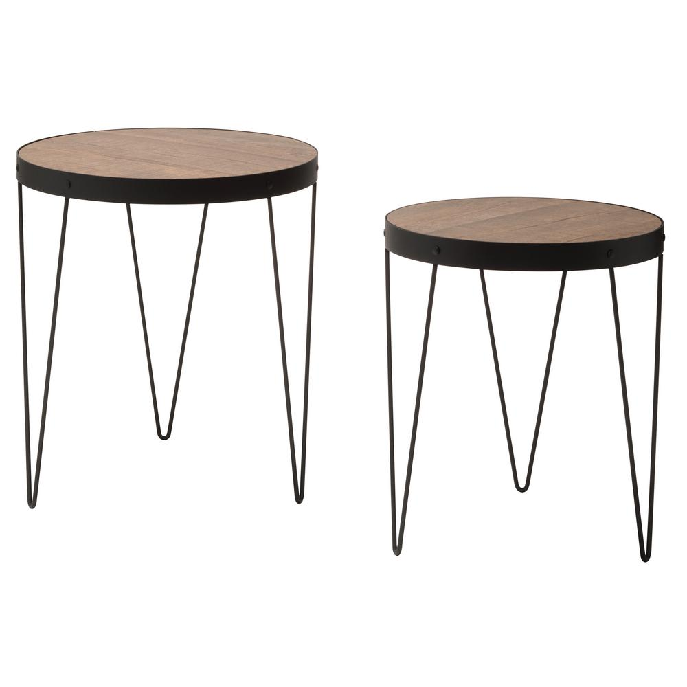 Pasadena nesting calico matte black accent tables set with rustic calico wood top 2 pack