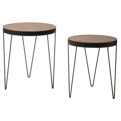 Pasadena Nesting Calico/Matte Black Accent Tables Set with Rustic Calico Wood Top (2-Pack)