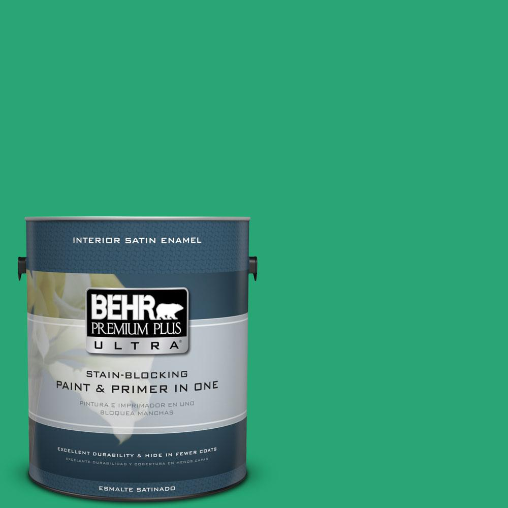 BEHR Premium Plus Ultra 1 gal. #470B-5 Garden Medley Satin Enamel Interior Paint and Primer in One
