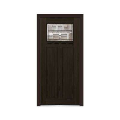 36 in. x 80 in. Oak Park Left-Hand 1-Lite Decorative Craftsman Stained Fiberglass Fir Prehung Front Door w/ Shelf