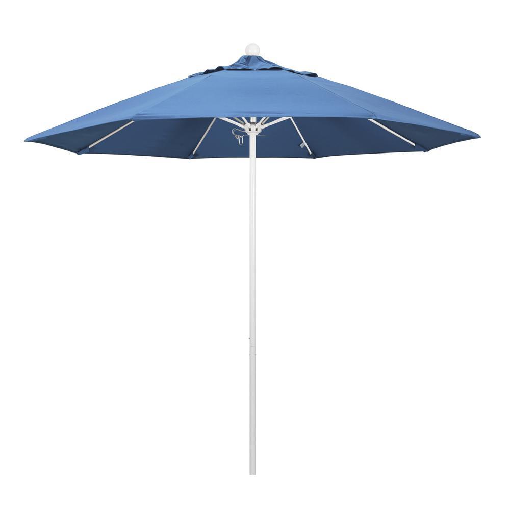 9 ft. Fiberglass Market Pulley Open M White Patio Umbrella in Frost Blue Olefin