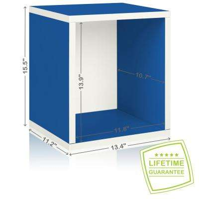 Eco Stackable zBoard  11.2 x 13.4 x 12.8 Tool-Free Assembly Tall Storage Cube Unit Organizer in Blue