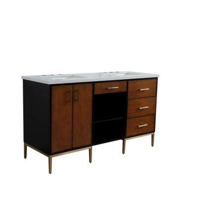 61 in. W x 22 in. D Double Bath Vanity in Walnut and Black with Quartz Vanity Top in White with White Rectangle Basins