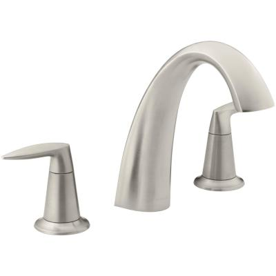 Alteo Deck-Mount 2-Handle High Arc Bathroom Faucet Trim Kit in Vibrant Brushed Nickel (Valve Not Included)