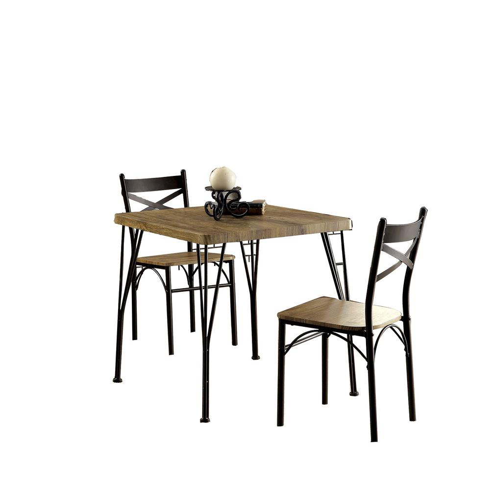 Benzara Industrial Style 3 Piece Brown And Black Wooden Dining Table