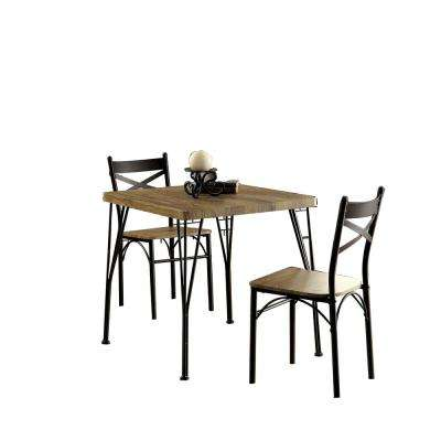 Industrial Style 3-Piece Brown and Black Wooden Dining Table Set