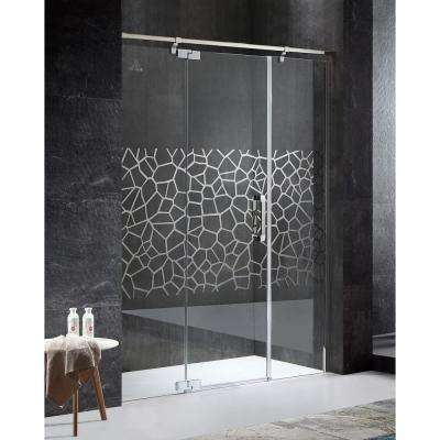 Grove Series Left Side 63 in. x 78.74 in. Semi-Frameless Hinged Shower Door in Chrome with Handle