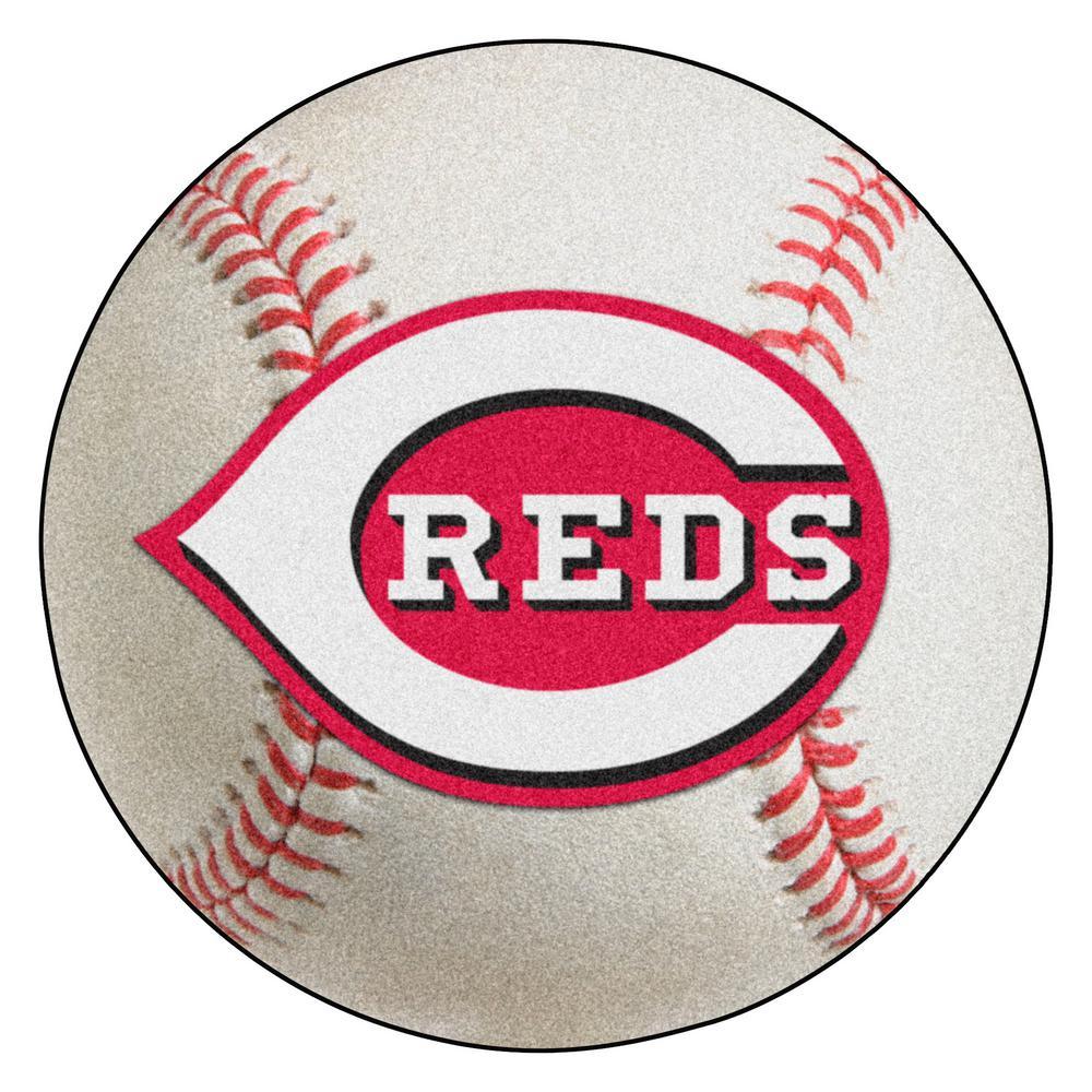 MLB Cincinnati Reds Photorealistic 27 in. Round Baseball Mat