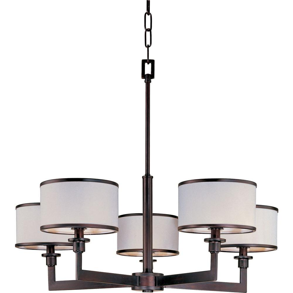 Maxim Lighting Nexus 5 Light Oil Rubbed Bronze Chandelier With Fabric Shades