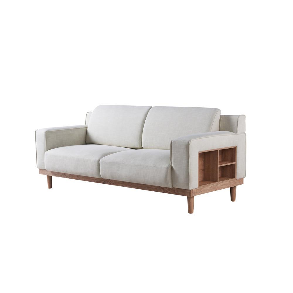 Kasma Linen Cream Modern Sofa With Storage