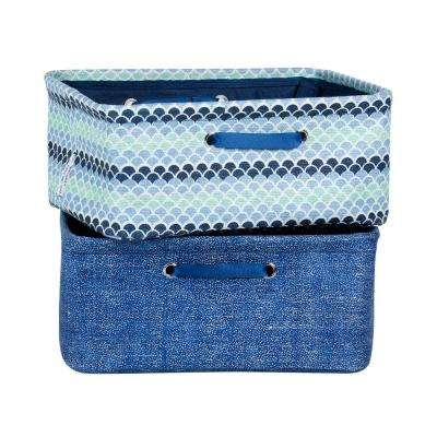 12 in. x 7 in. Storit Small Blue Polypropylene Nightstand Basket with Chambray and Oval Pattern (2-Pack)