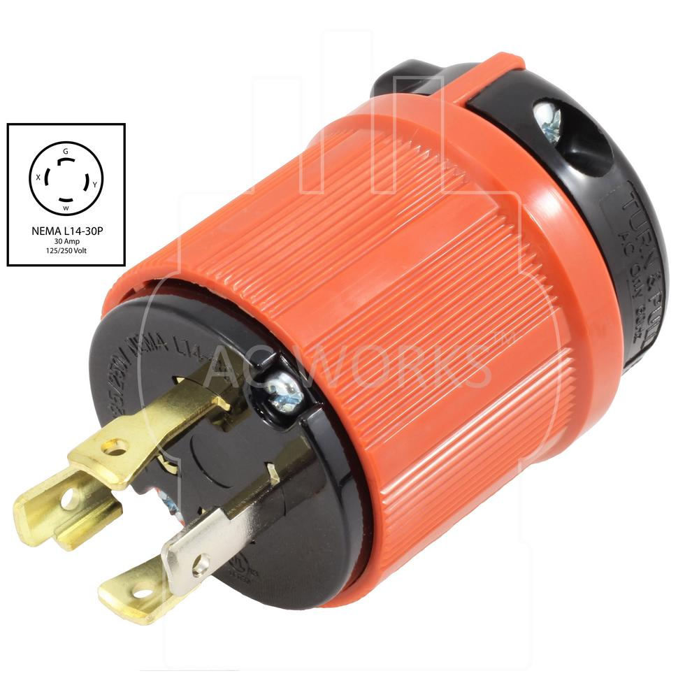 NEMA L14-30P 125-250V 30 Amp Twist Lock Plug 4 Prong for Generator Cord Assembly