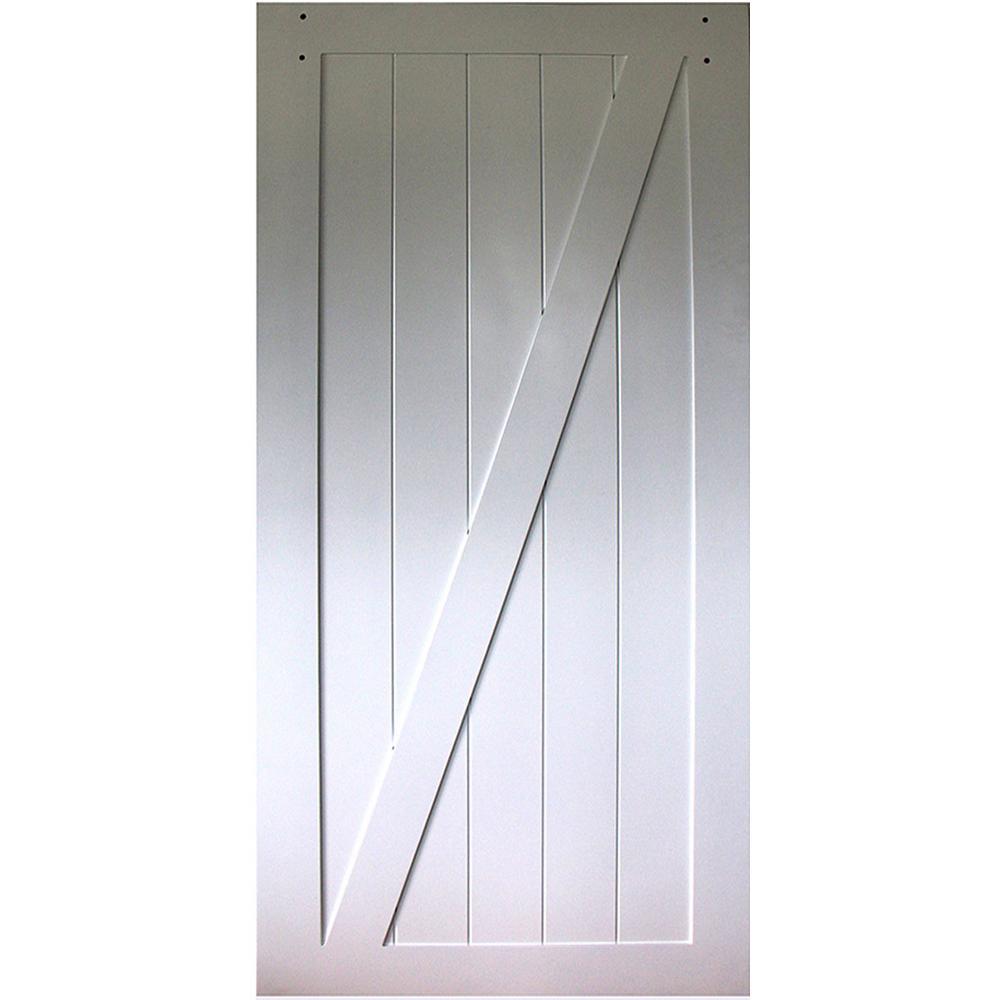 36 in. x 83.5 in. Kimberly Bay Z-Rail White Solid Core Pine Interior Barn Door Slab