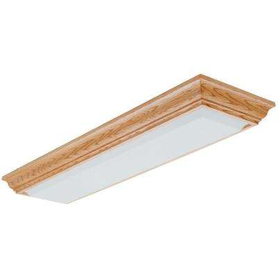 2-Light Oak Fluorescent Cambridge Linear Flushmount