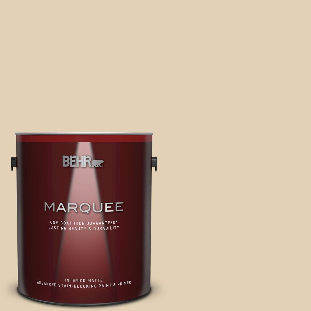 Behr Marquee 1 Gal N290 3 Comfy Beige Matte Interior Paint And Primer In One 145001 The Home Depot