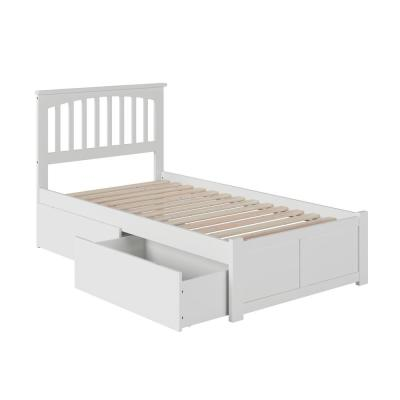 Mission White Twin Platform Bed with Flat Panel Foot Board and 2-Urban Bed Drawers
