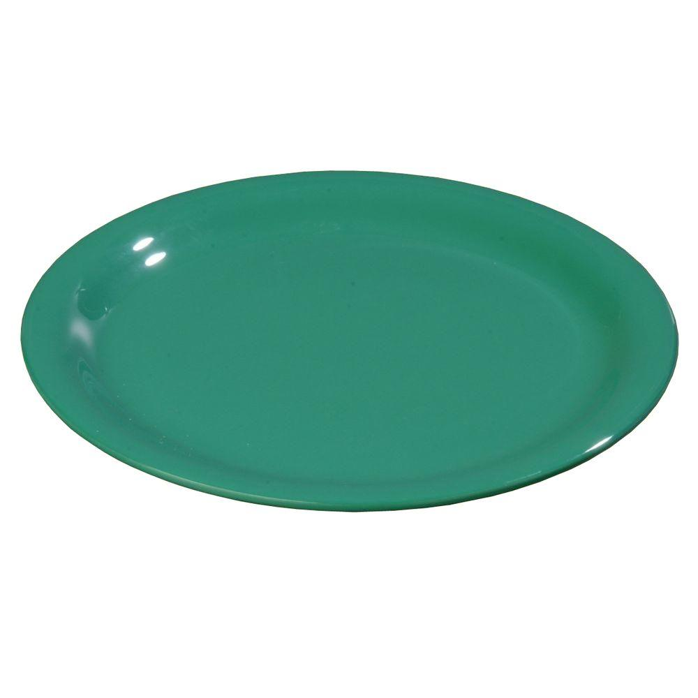 9 in. Diameter Melamine Narrow Rim Dinner Plate in Green (Case