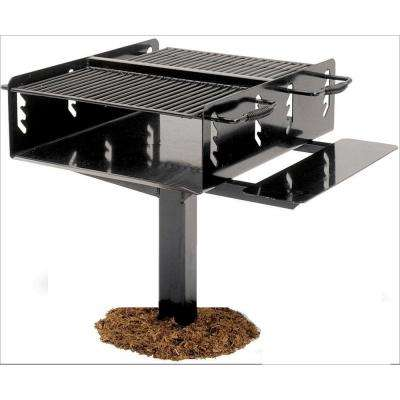 4 in. Commercial Park Bi-Level Charcoal Grill with Post in Black