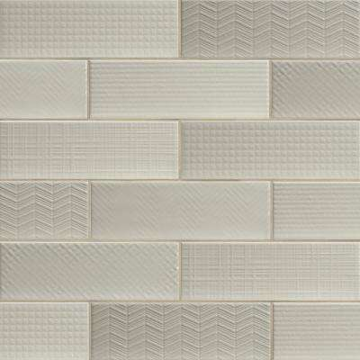 Citylights Crema 3D Mix Glossy 4 in. x 12 in. Glazed Ceramic Wall Tile (9.9 sq. ft./case )