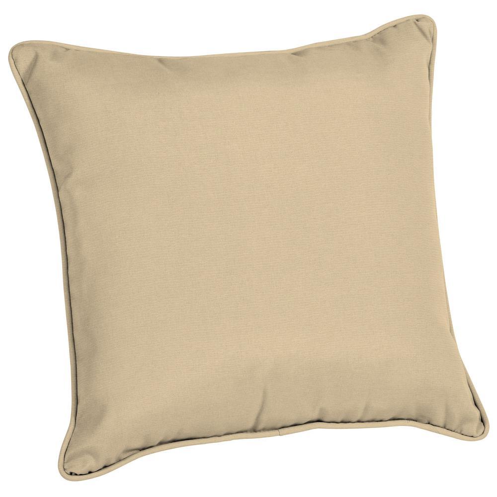 Acrylic 20 in. Tan Linen Outdoor Throw Pillow