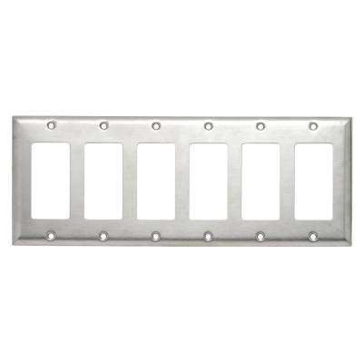 302 Series 6-Gang Decorator Wall Plate, Stainless Steel