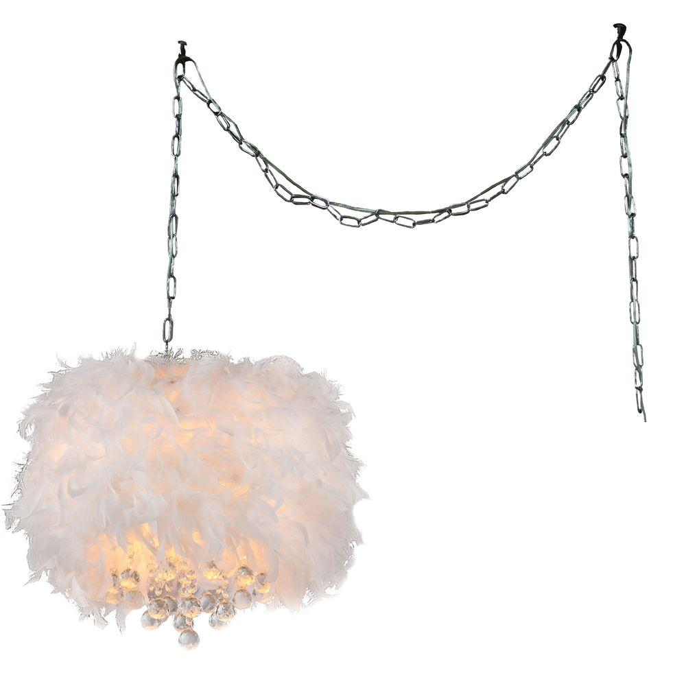 Finna 3 light chrome indoor crystal swag chandelier with shade finna 3 light chrome indoor crystal swag chandelier with shade rl1221 swag the home depot aloadofball Choice Image